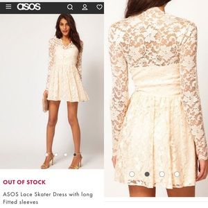 ASOS Ivory Skater Dress with Long Fitted Sleeves